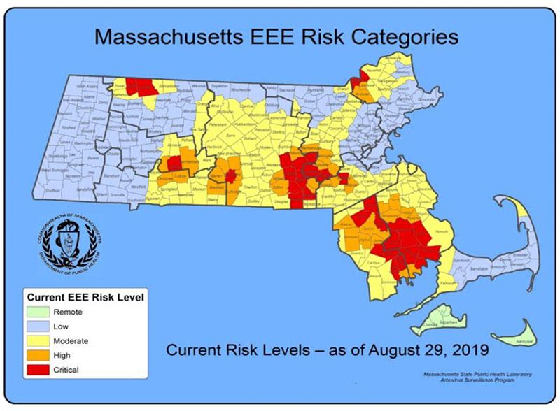 map of EEE cases in Mass